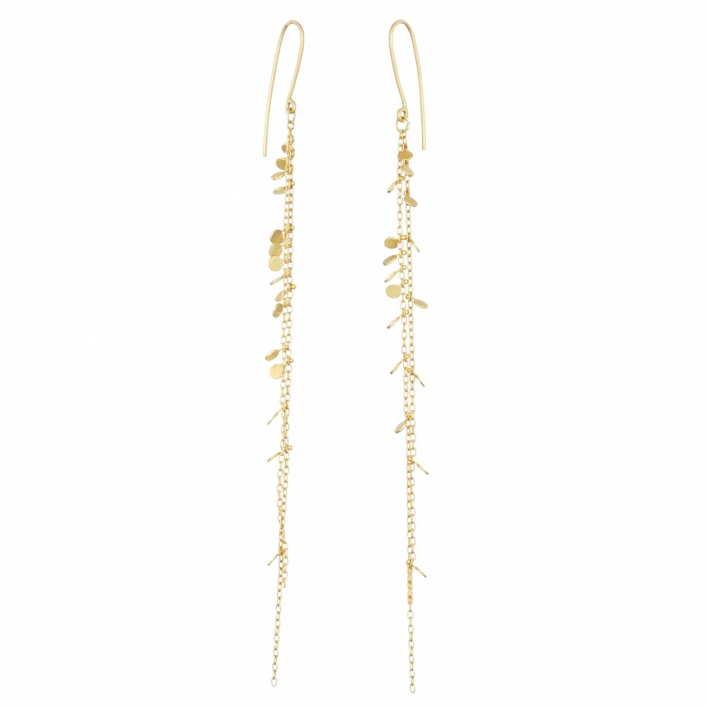 Sia Taylor DE203 Y Yellow Gold Double Chain Random Dot Earrings WB
