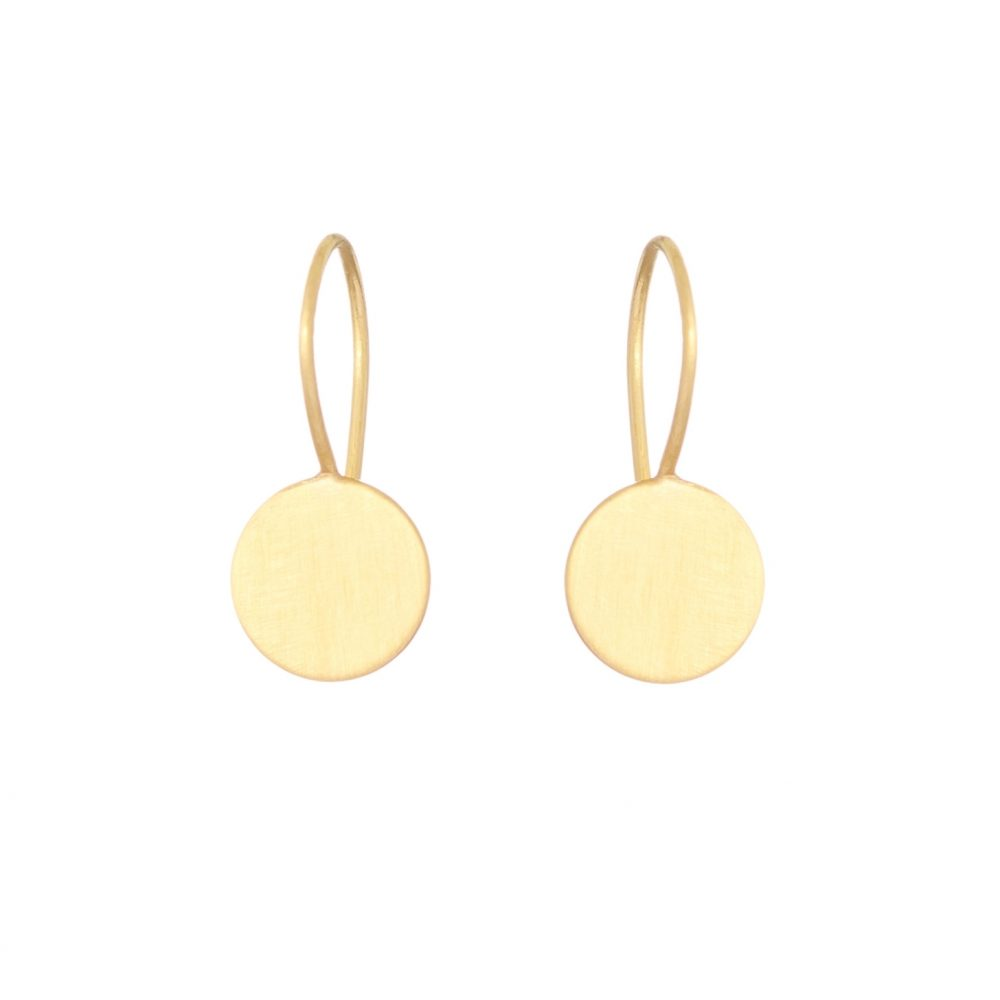 Sia Taylor KE15 Y Yellow Gold 8mm Moon Drop Earring WB