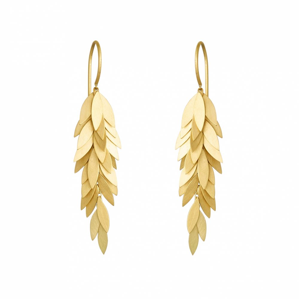 Sia Taylor KE24 Y Yellow Golden Leaf Earring WB
