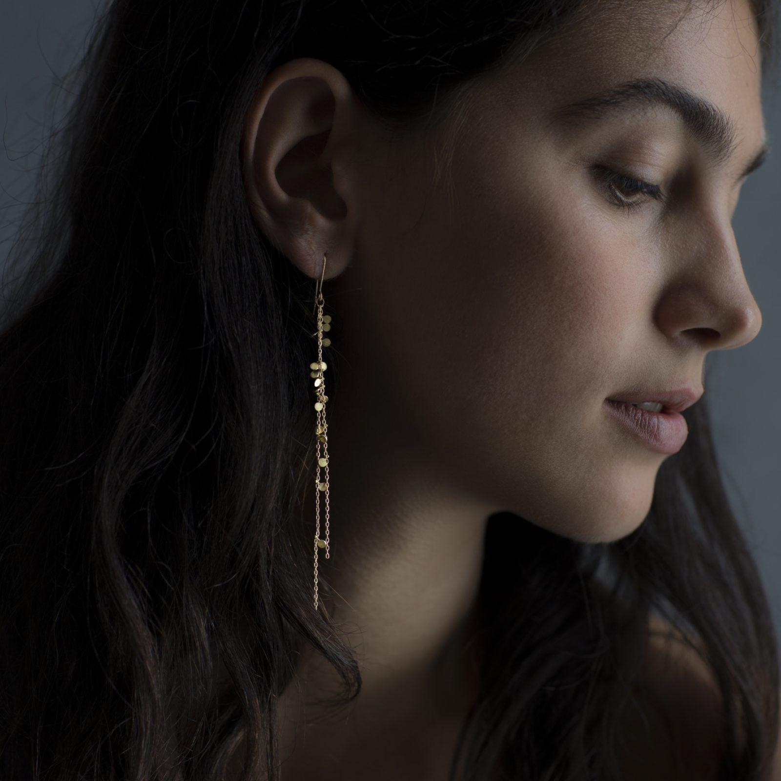 Sia Taylor DE203 Y Yellow Gold Double Chain Random Dot Earrings M
