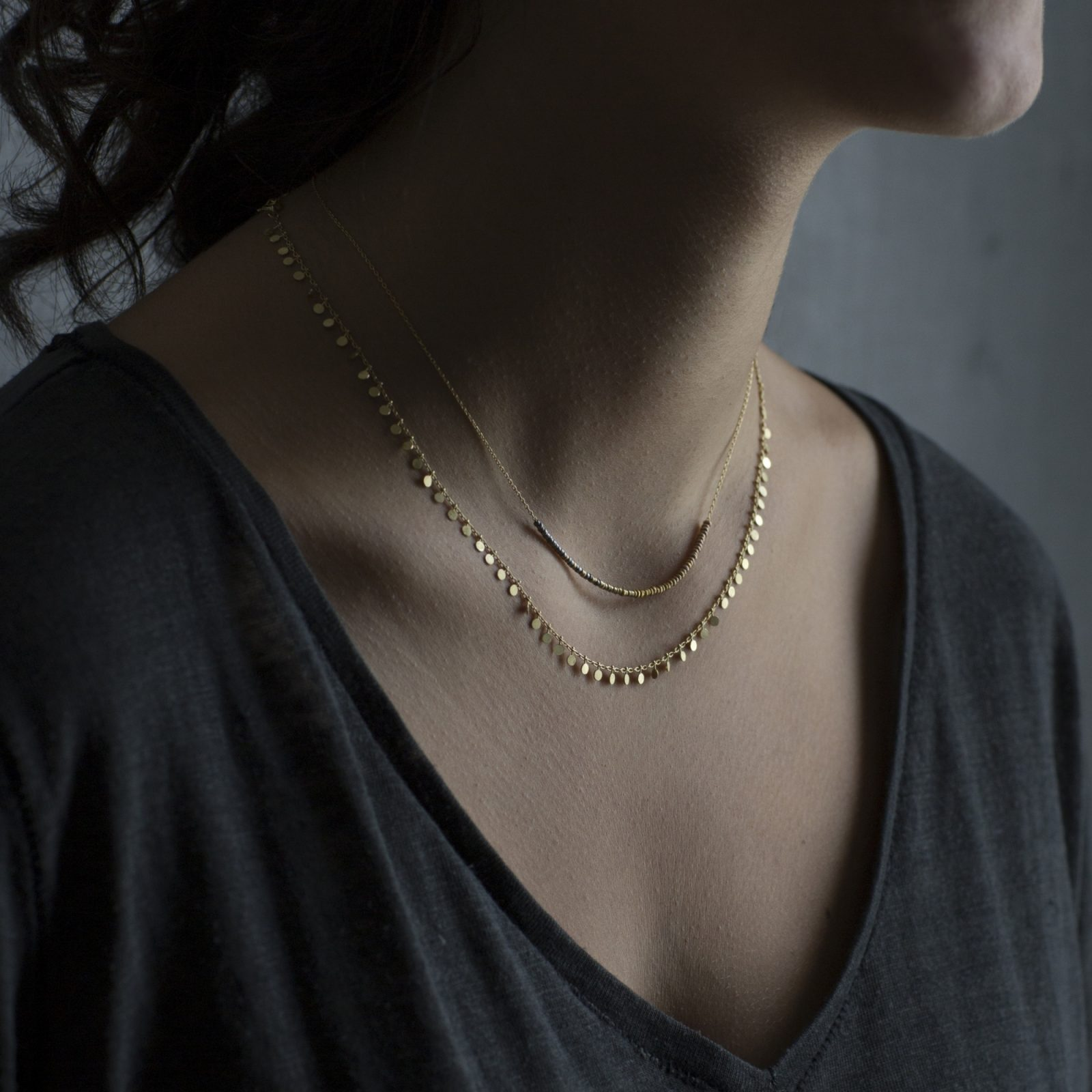 Sia Taylor DN301 Y Yellow Gold Evenly Dotted Necklace M