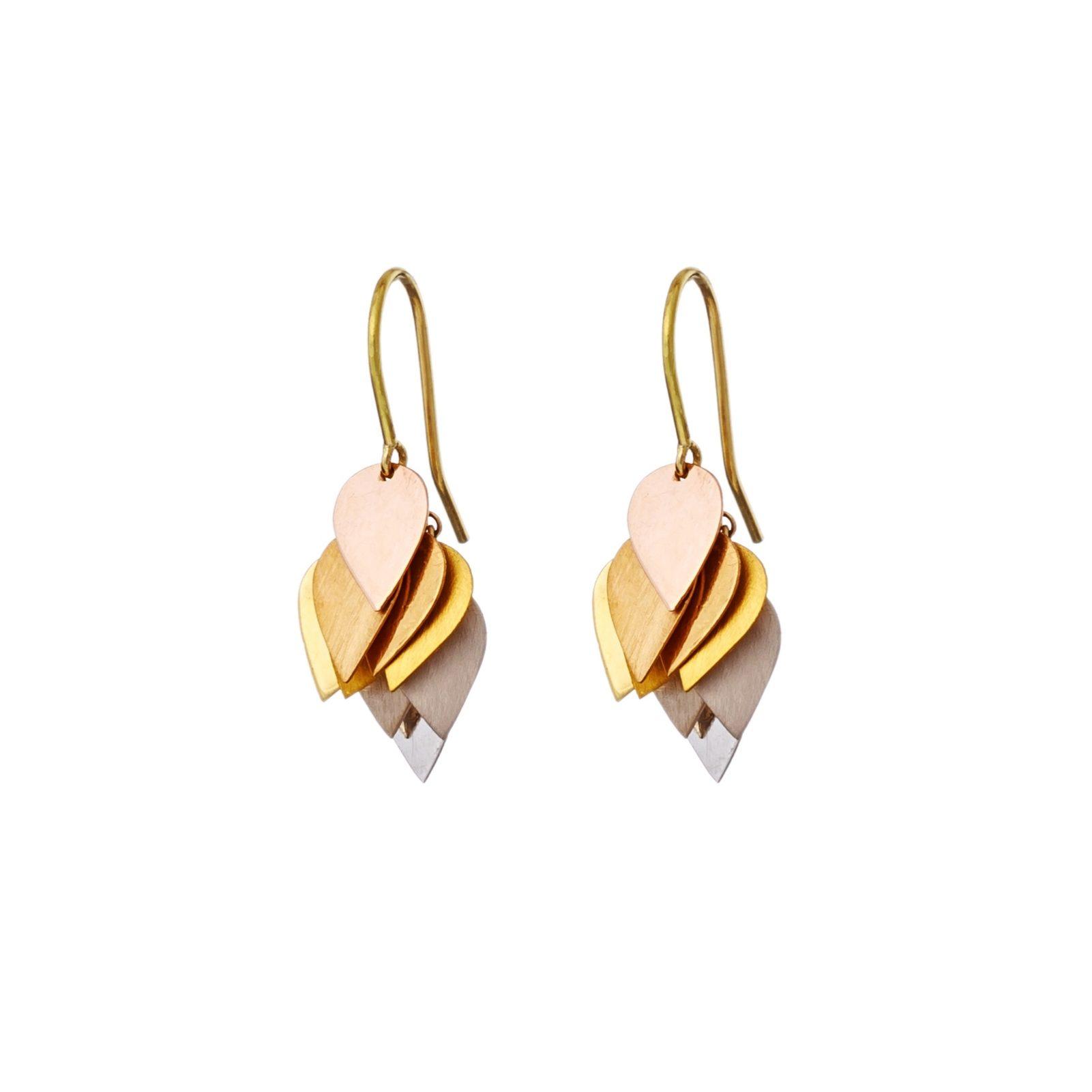 Sia Taylor KE4 RAIN Rainbow Golds Petal Cluster Earring WB