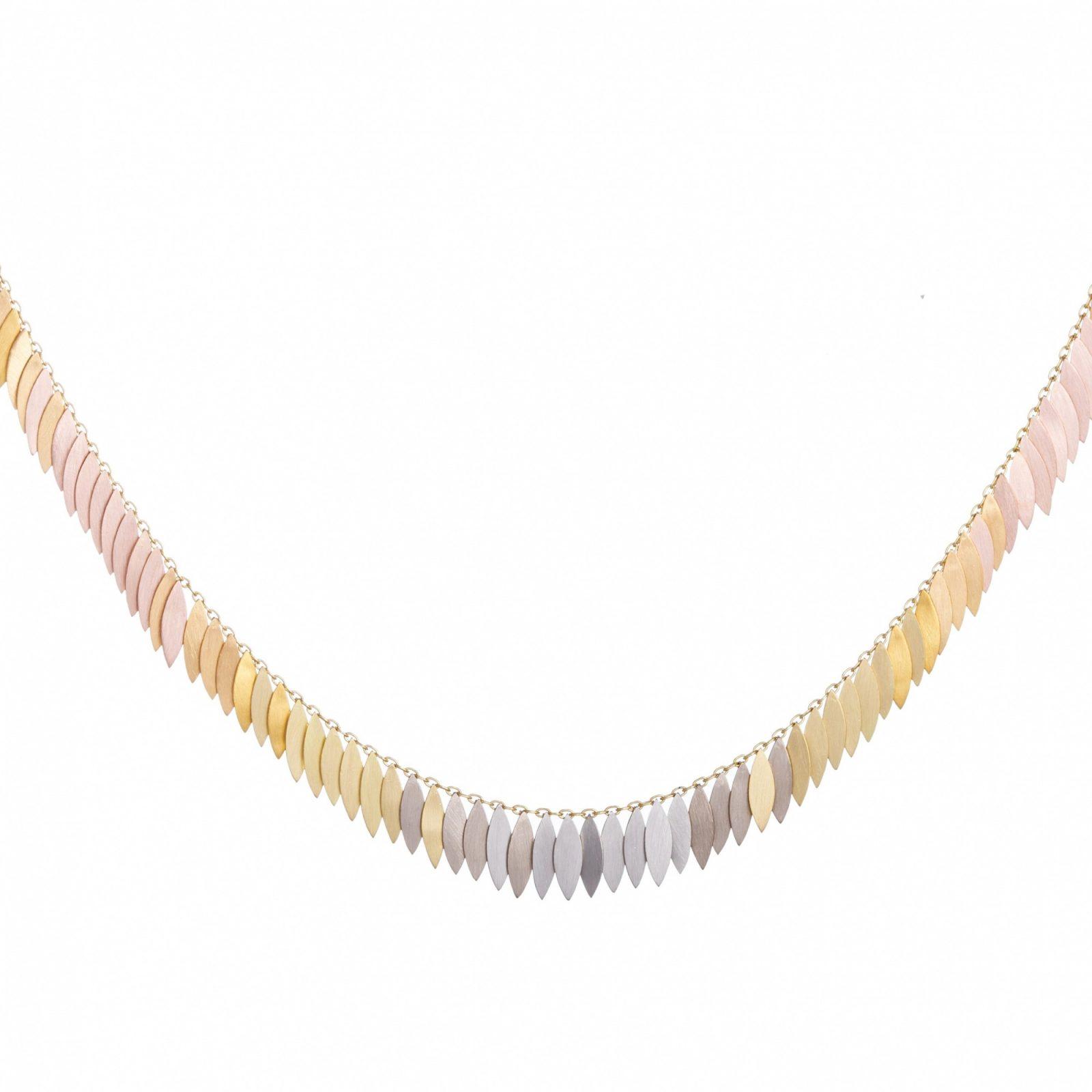 Sia Taylor KN26 RAIN Rainbow Gold Leaf Full Necklace WB