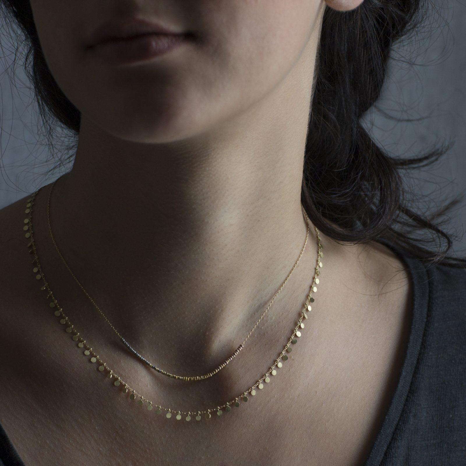 Sia Taylor KN7 Y Tiny Bead Rainbow Golds Arc Necklace M