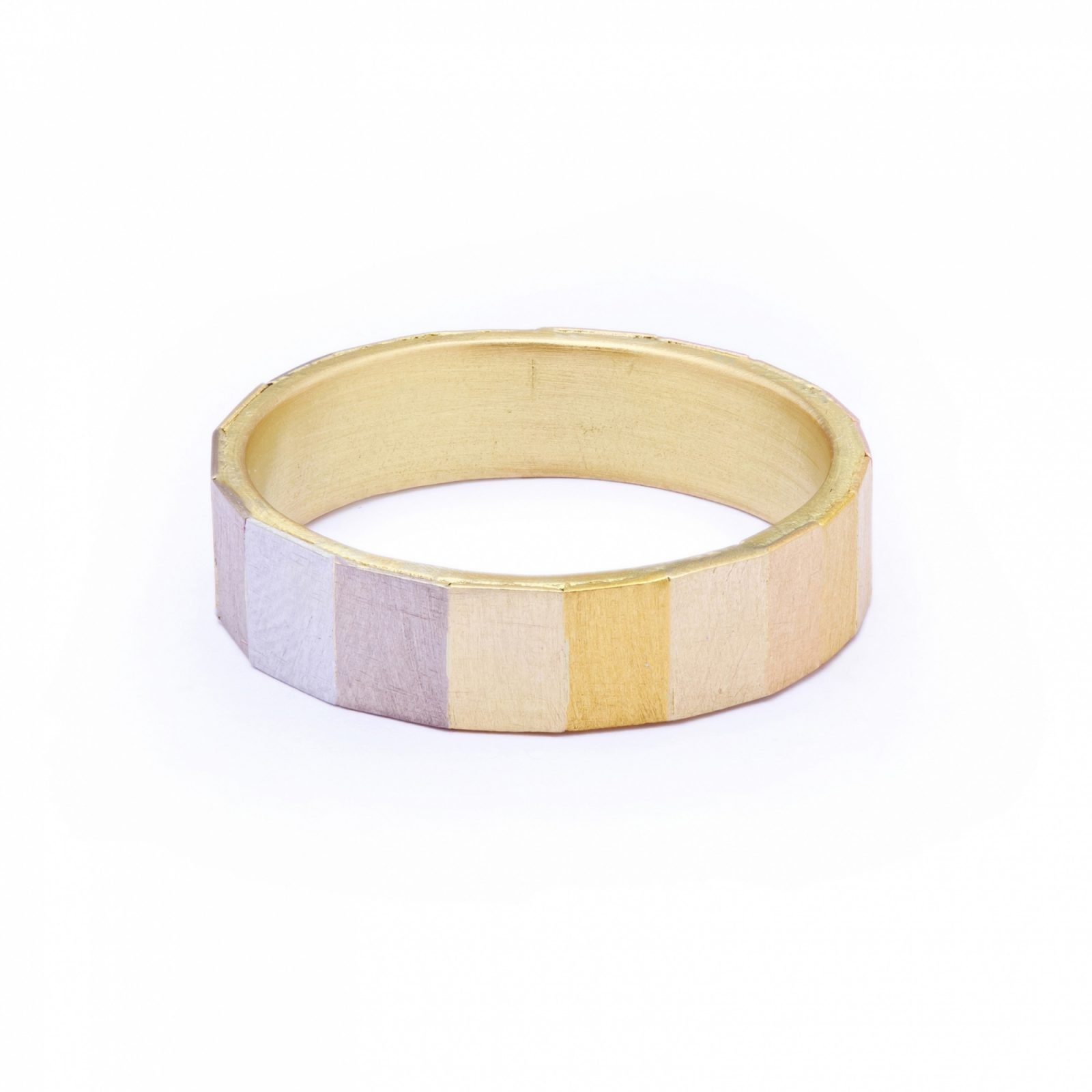 Sia Taylor KR16 RAIN Rainbow Gold Large Faceted Band WB