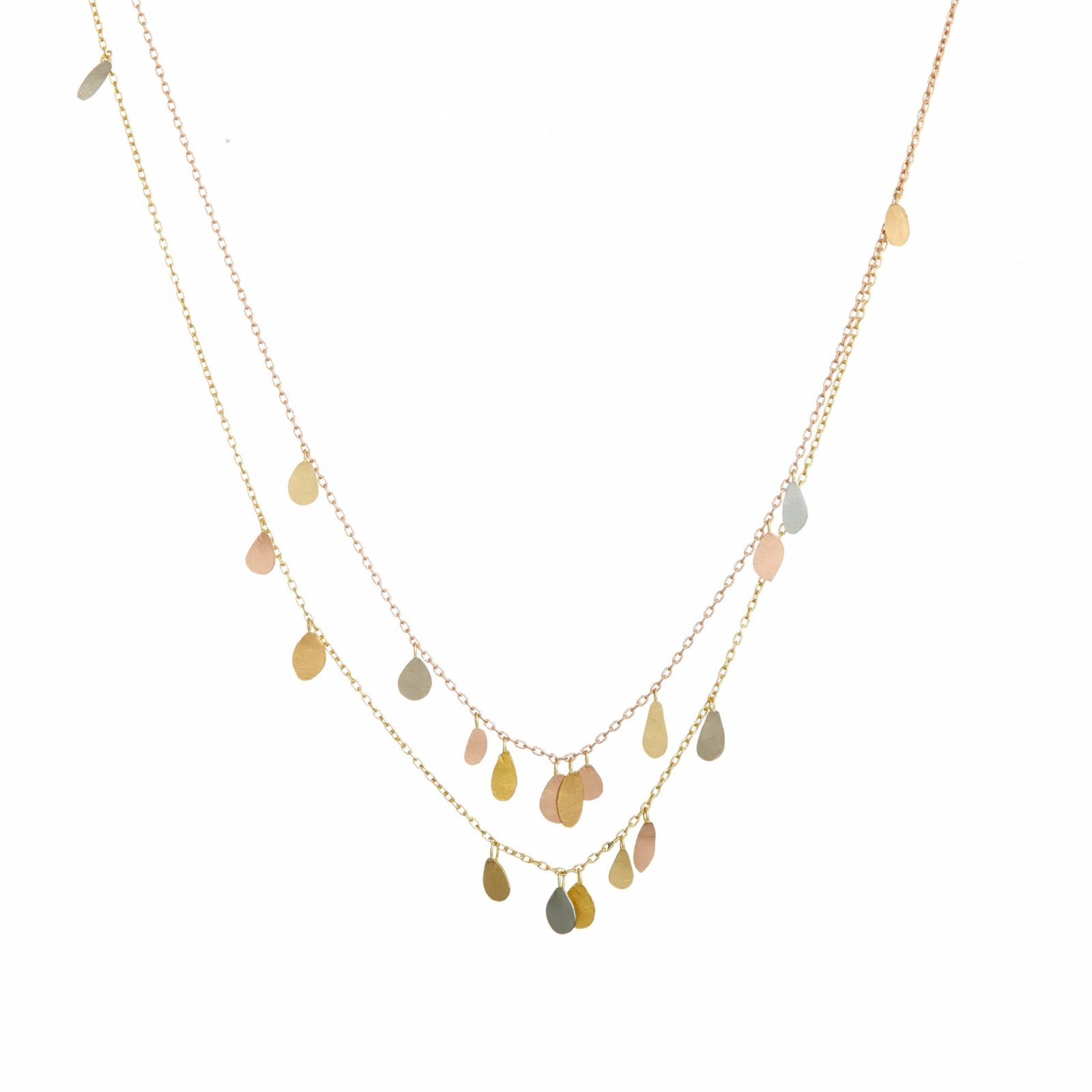 Sia Taylor TN3 Y Double Chain Raindrops Gold Necklace WB