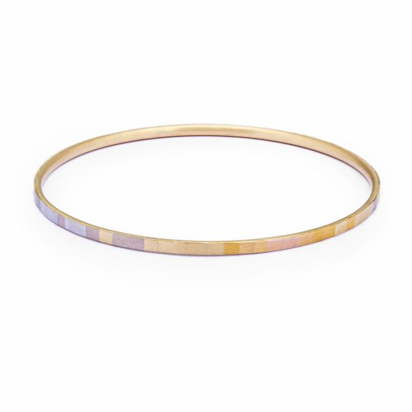 Sia Taylor KB2 RAIN Rainbow Gold Faceted Horizon Bangle WB