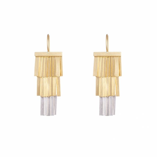 Sia Taylor KE38 YP Platinum Gold Moonlight Fringe Earring WB