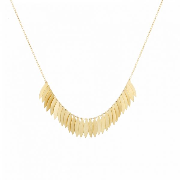 Sia Taylor KN21 Y Yellow Gold Golden Leaf Arc Necklace WB