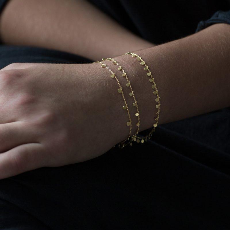Sia Taylor DB7 Y Yellow Gold Even Tiny Dots Bracelet M