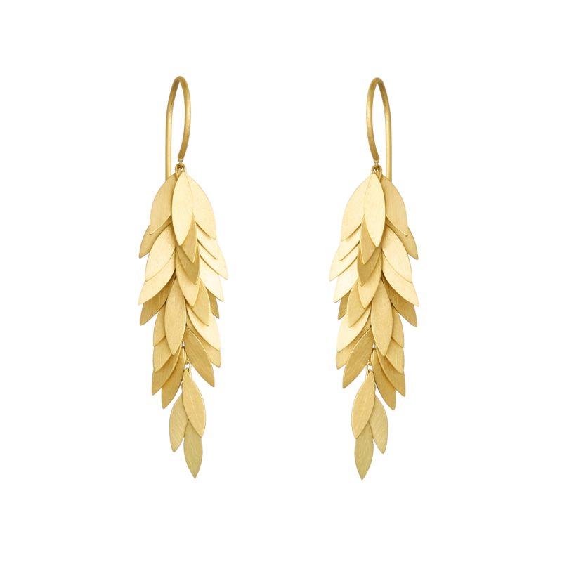 Sia Taylor KE24 Y Yellow Golden Leaf Earring WB