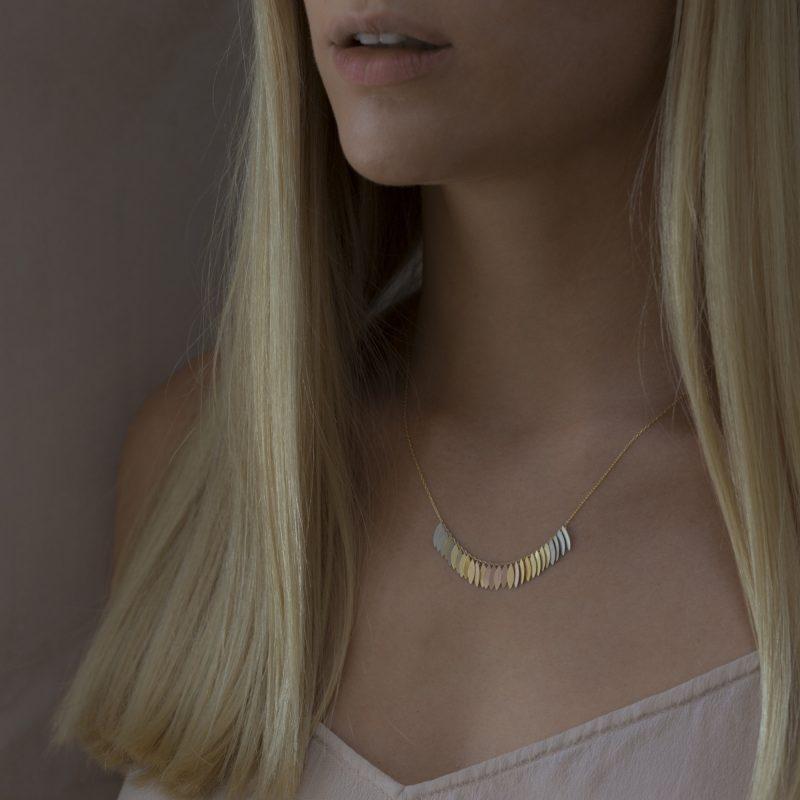 Sia Taylor KN27 RAIN Rainbow Leaf Arc Necklace M