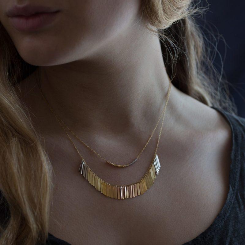 Sia Taylor KN29 RAIN Rainbow Gold Sunset Fringe Arc Necklace M
